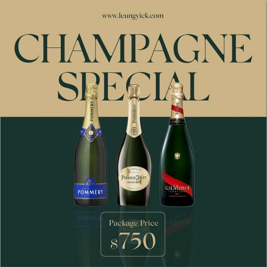 Mumm Cordon Rouge NV Champagne + Pommery Brut NV  + Perrier-Jouet Grand Brut N.V.