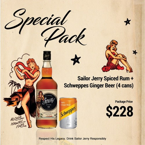 Sailor Jerry Spiced Rum + Schweppes Ginger Beer - 4 can